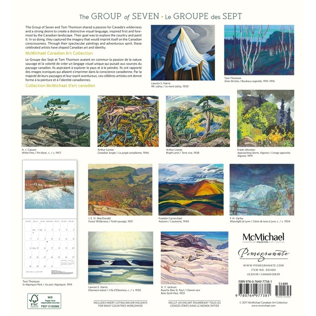 The Group of Seven Wall Calendar (Bilingual), Fine Art by Pomegranate