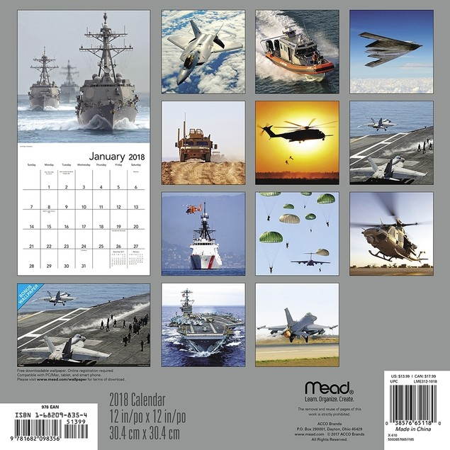 American Armed Forces Wall Calendar, Military by Calendars