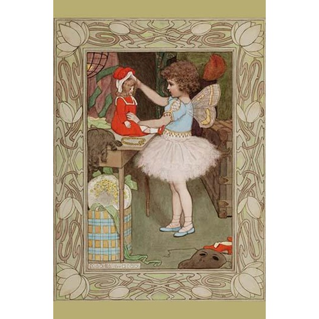 A fairy puts the finishing touches on a Christmas gift, a doll. Poster