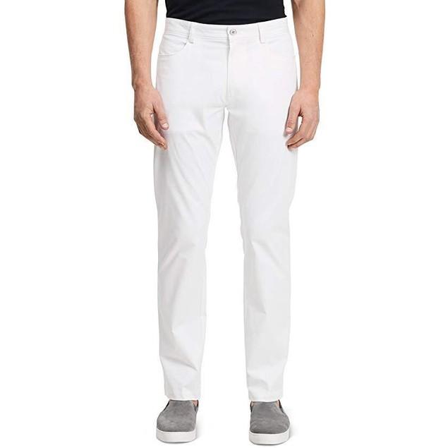 Calvin Klein Men's Slim Fit 4-Pocket Stretch Sateen Pant,White, SZ 31W
