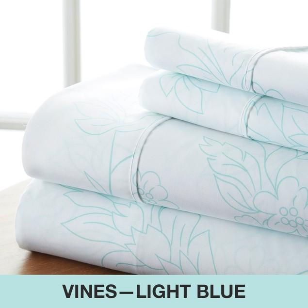 Becky Cameron Premium Ultra Soft Vine Pattern 4 Piece Bed Sheet Set