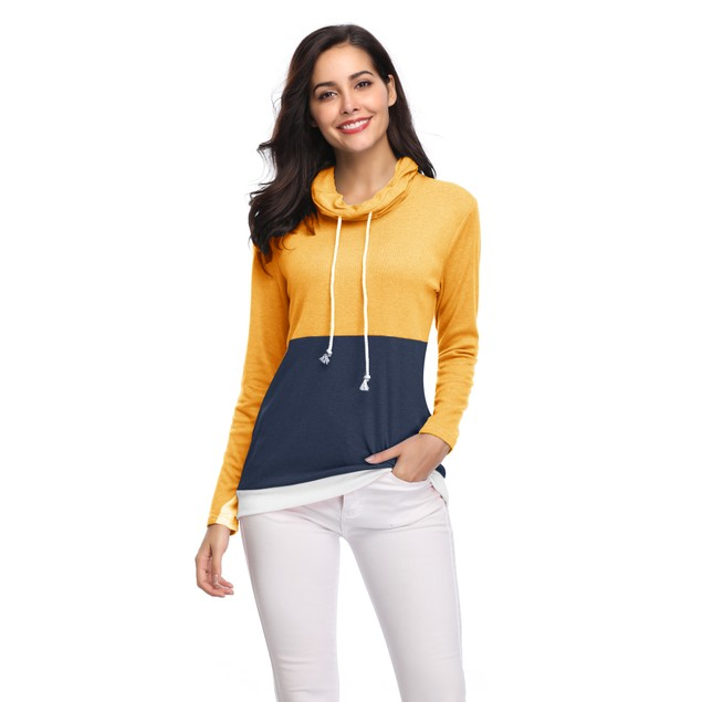 Two Tone Cowl Neck Pullover with Thumbholes