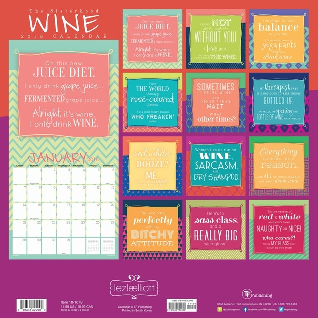 Wine and Dine Wall Calendar, Wine, Beer & Spirits by TF Publishing
