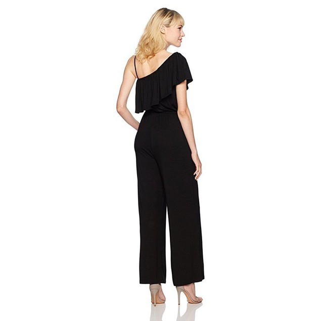 BB Dakota Women's Maryana One Shoulder Ruffle Jumpsuit, Black, Large