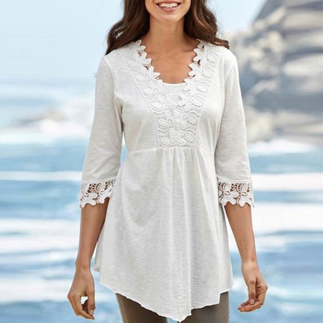 Women Casual Basic Solid Laciness Stitching Half Sleeve Top Blouse