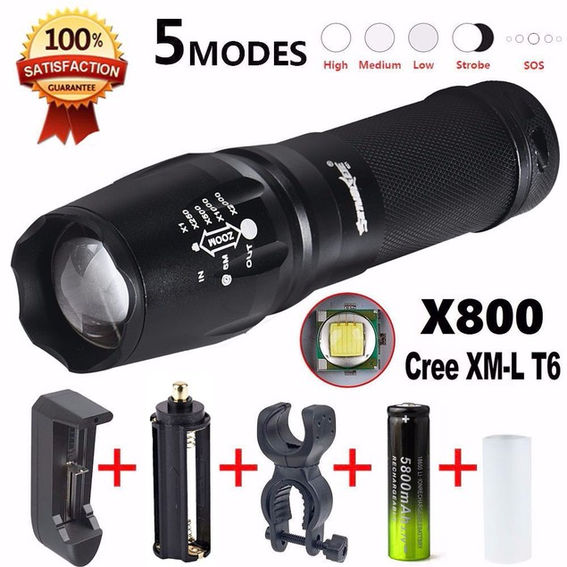 G700 LED Zoom Flashlight X800 Military Lumitact Torch 18650 Battery Charger