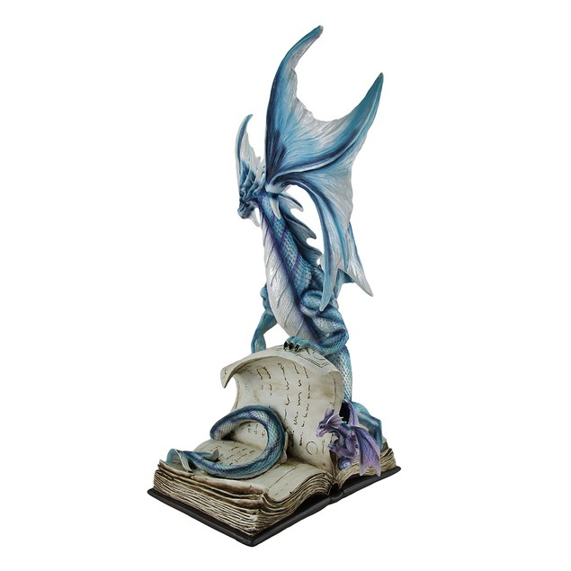 Curious Blue Dragon And Drake Studying Giant Book Statues