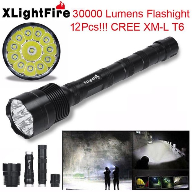 XLightFire 30000 Lumens 5 Mode 18650 Super Bright LED Flashlight