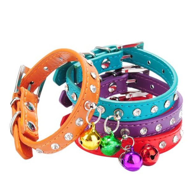 Dog Collar Bling Crystal With Small Bell Necklace Pet Puppy Cat