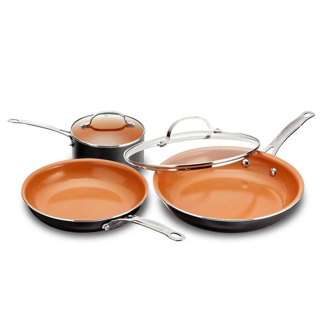 Gotham Steel 5 Piece Cookware Bundle Non-stick Copper Ti Cerama Coating