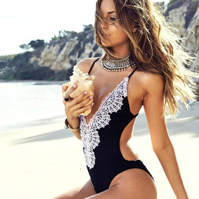 Women One Piece Swimsuit Push Up Padded Bikini Monokini Swimwear Beachwear