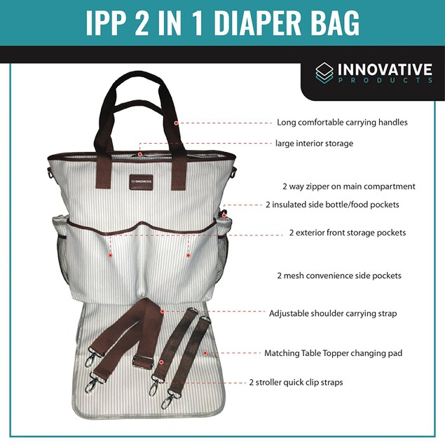 2 in 1 Baby Diaper Bag- Overnighter Tote Canvas w/Table Topper Changing Pad