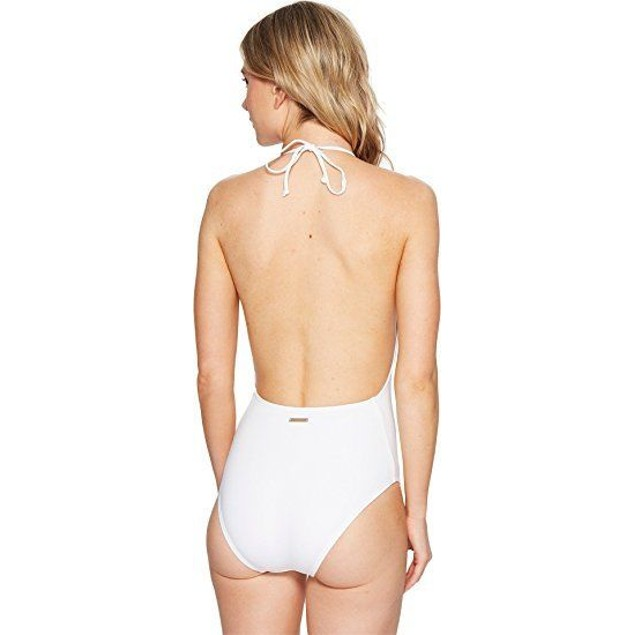 Vince Camuto Women's Hardware High Neck Plunge One-Piece Swimsuit White 4