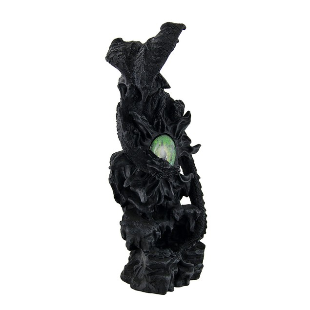 Portal Protector Black Dragon Perched On Fiery Statues