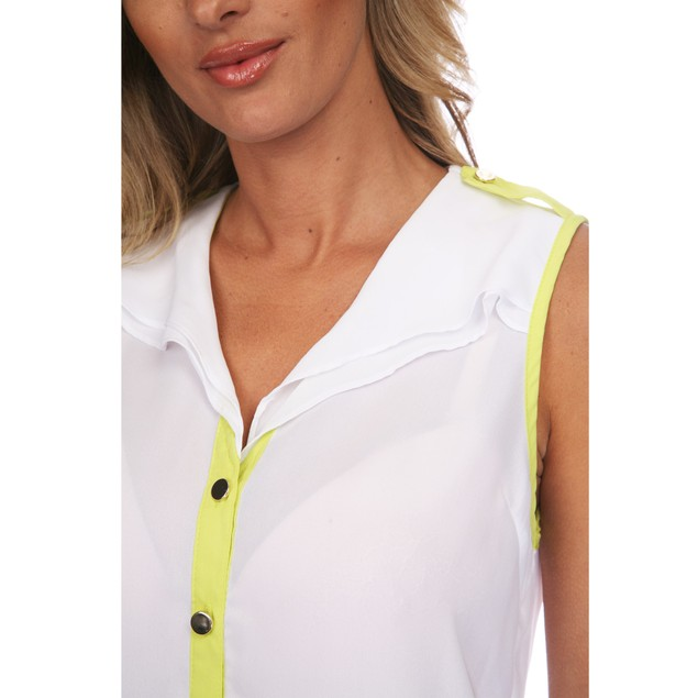 Button Up Sleeveless Blouse - 2 Colors