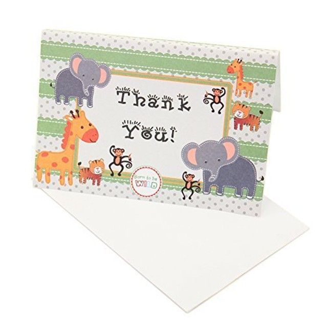 24 Pc Baby Jungle Zoo Animals THANK YOU Cards Party Safari
