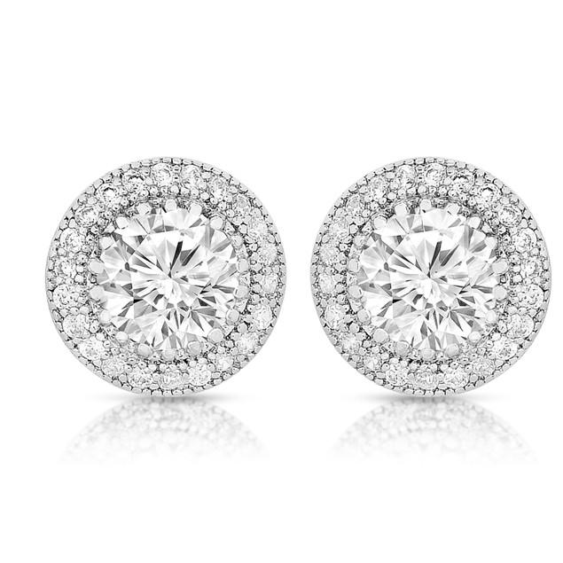 Sterling Silver Cubic Zirconia Round Earrings