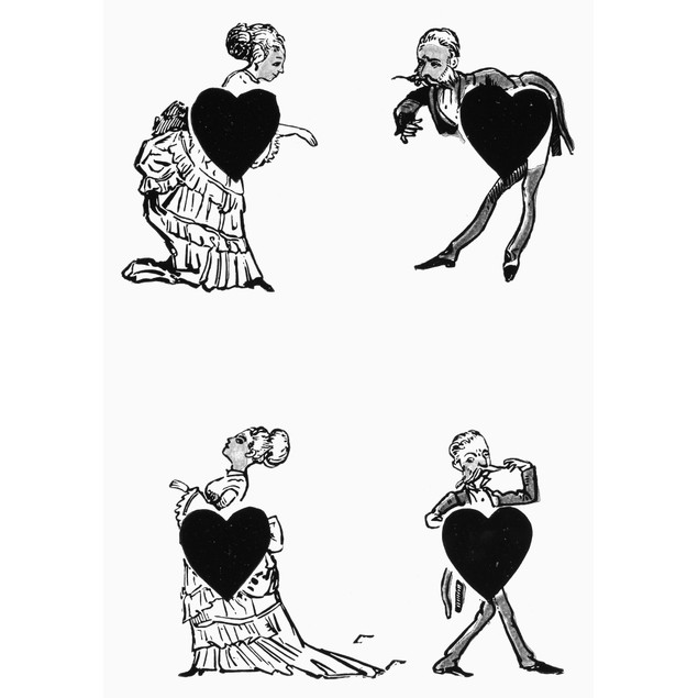 Playing Card, 1877. /Nfour Of Hearts From Eclipse Comic Playing Cards, Amer