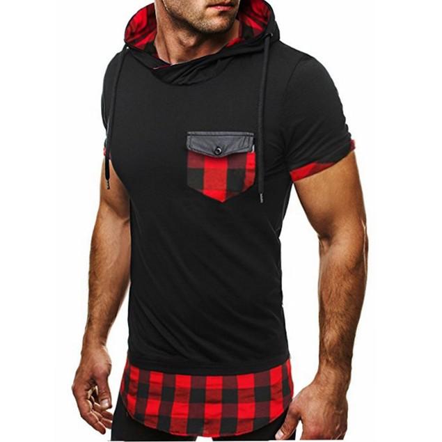 Men's Summer Casual Patchwork Short Sleeve Shirt