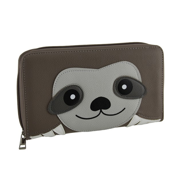 Soft Sloth Animal Face Zip Around Wallet Womens Wallets