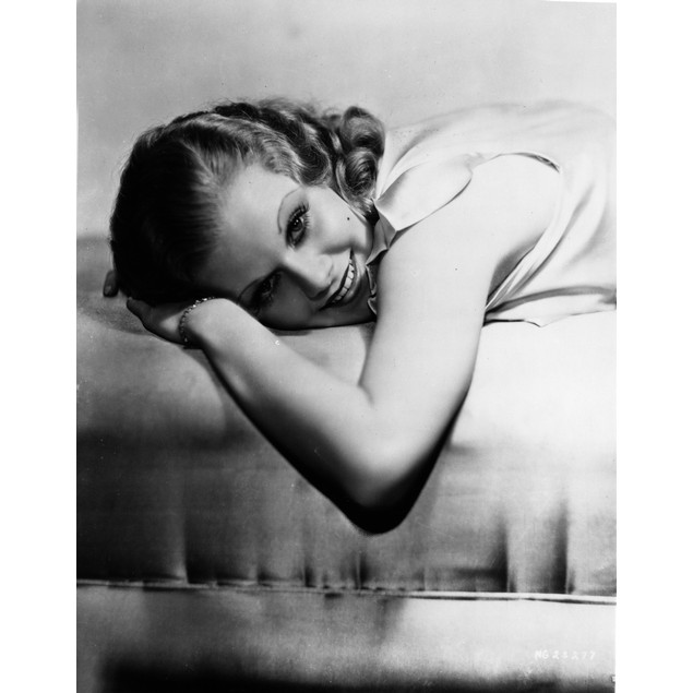 Jean Harlow Portrait Lying on the Bed in White Dress Poster