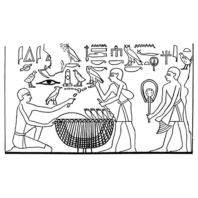 Ancient Egypt: Market. /Na Customer Buying Vegetables In Exchange For A Nec