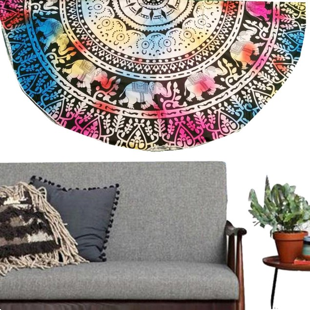 Ombre Round Beach Blanket and Yoga Mat