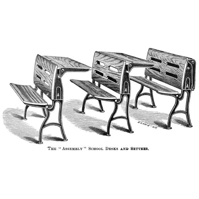Assembly School Desks. /Nline Engraving, American, C1870. Poster