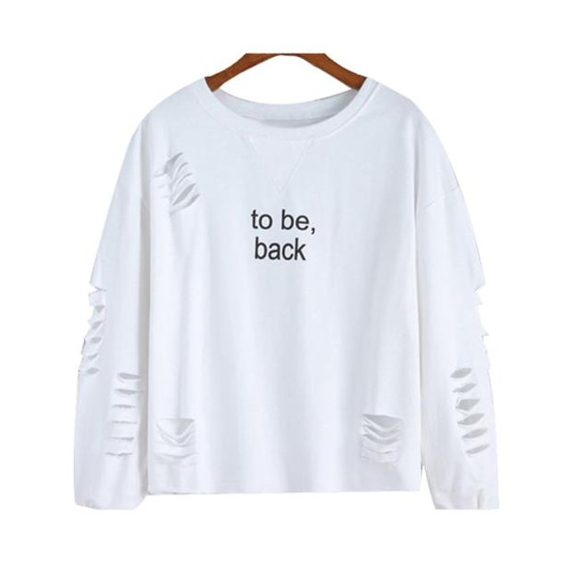 Women Letters Printed Round Neck Hedging Blouse ?