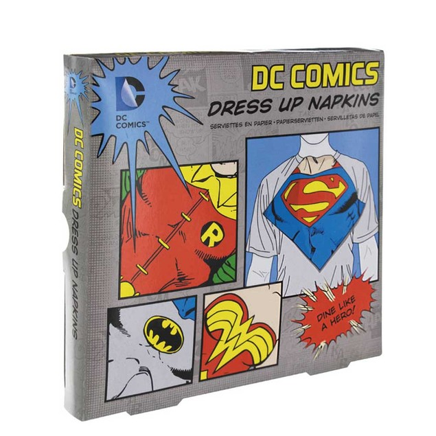 DC Comics Dress Up Napkins Superman Wonder Woman Robin Batman Set Paladone
