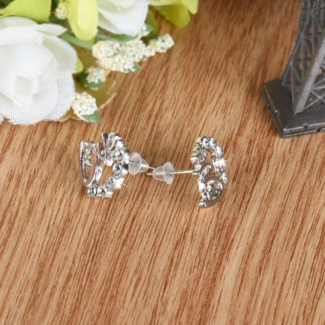 1 Pair Women Lady Elegant Crystal Rhinestone Ear Stud Earrings