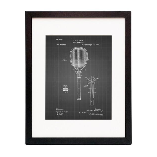 Tennis Racket 1892 Patent Poster
