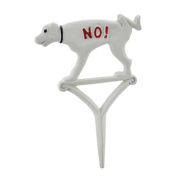 Hand Painted Cast Iron No! Dogs Allowed Yard Stake Garden Stakes