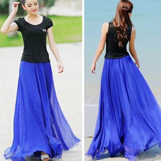 Women Elastic Waist Chiffon Long Maxi Beach Dress