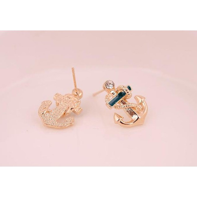 Women Fashion Crystal Rhinestone Sailor Anchor Ear Stud Earrings