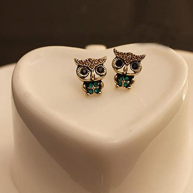 Fashion Style Owl Rhinestone Cute Vintage Ear Stud Earrings 1 Pair
