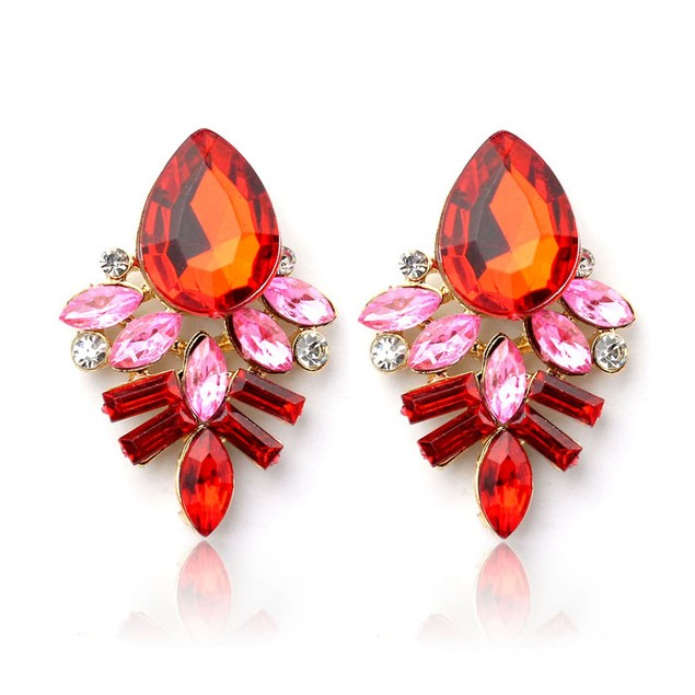 Fashion Women Lady Rhinestone Crystal Drop Alloy Ear Studs Earrings