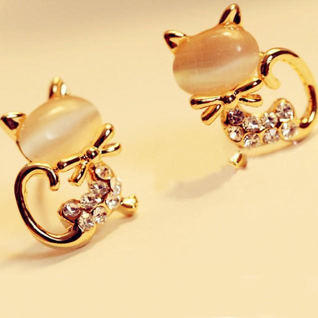 Korean Fashion Cute Cat Stone Crystal Rhinestone Women Stud Earrings