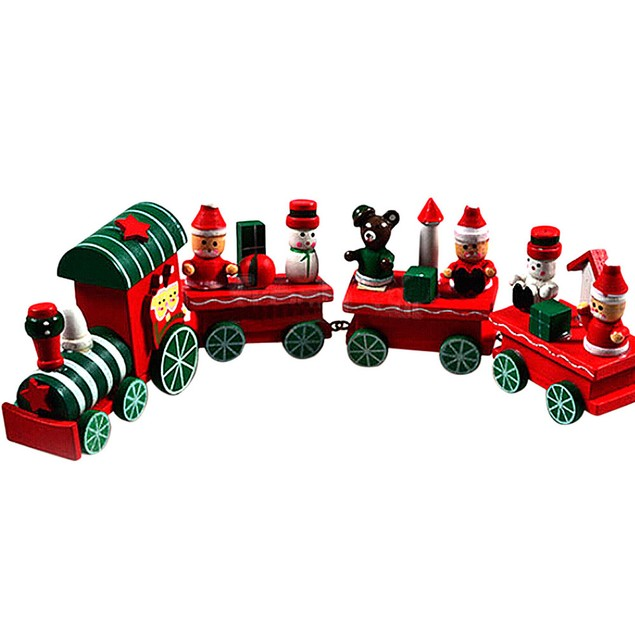 4 Pieces Wood Christmas Xmas Train Decoration Decor Gift