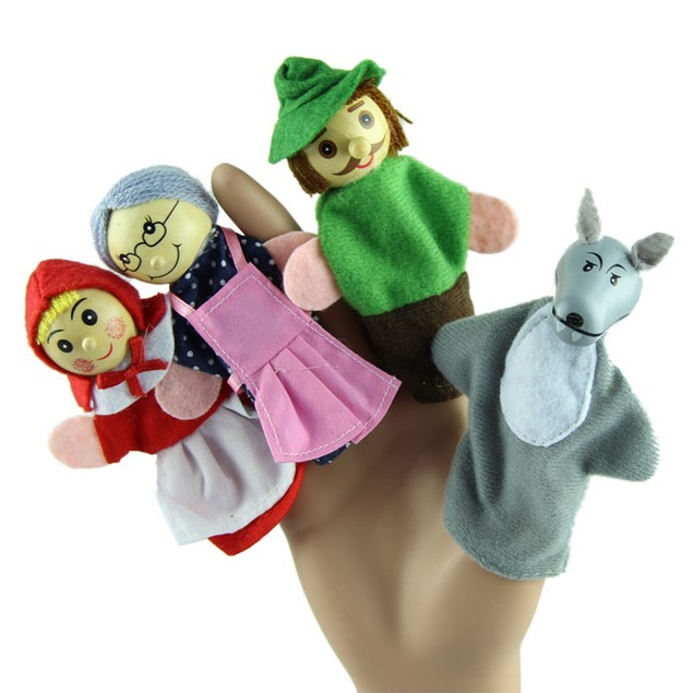 4PCS Hood Finger Puppets Gifts Baby Educational Toy