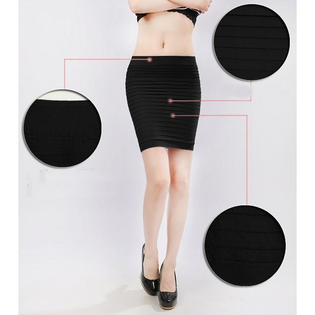 Fashion Womens Elastic Pleated High Waist Package Hip Short Skirt