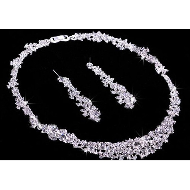 Crystal Bridal Jewelry Sets Hotsale Necklace+earrings Jewelry Wedding