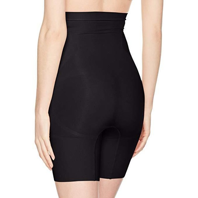 SPANX Women's High Waist Mid Thigh Shorts, Very Black, Medium