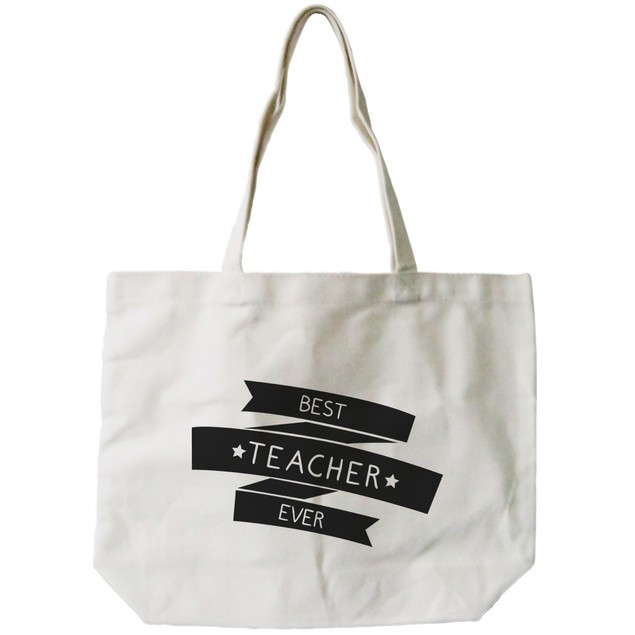 """Canvas Tote Bag by - """"Best Teacher Ever"""""""