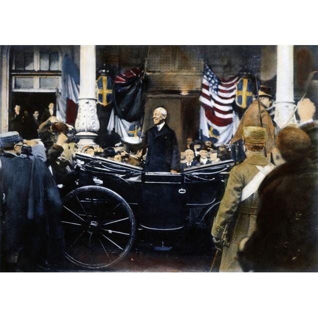 Woodrow Wilson In Paris. /Npresident Woodrow Wilson (1856-1924) In Paris Fo