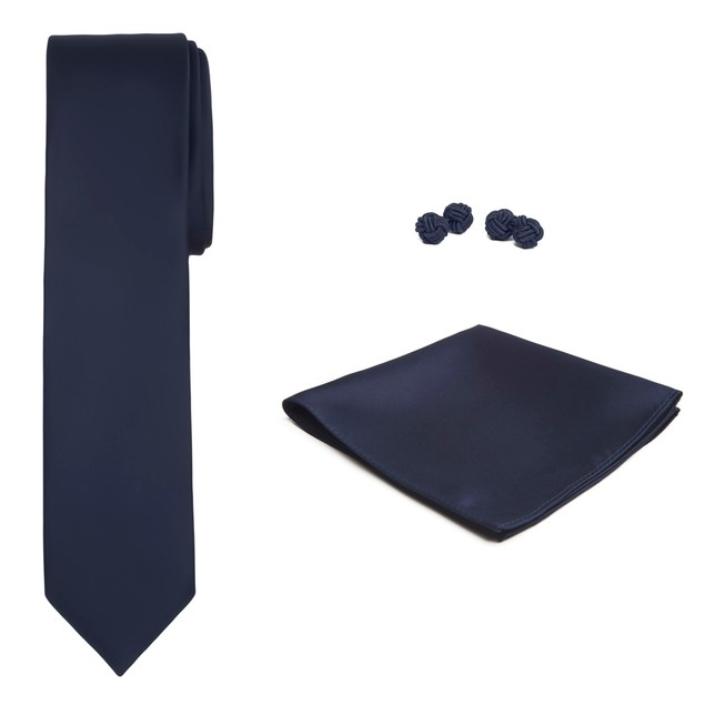 Jacob Alexander Solid Color Men's Slim Tie Hanky and Cufflink Set