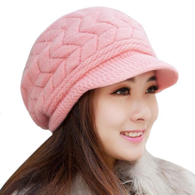 Women Hat Winter Skullies Beanies Knitted Hats Rabbit Fur Cap