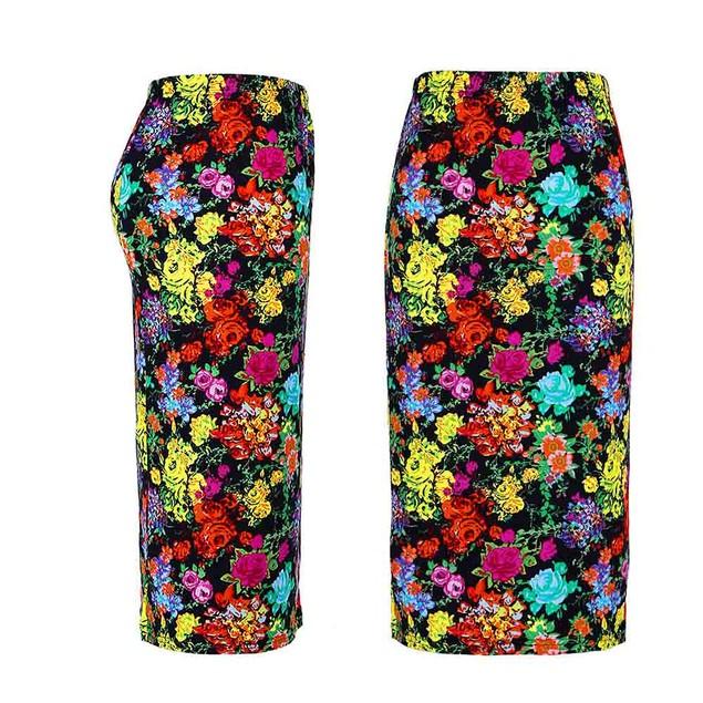 Women Pencil Midi Knee-Length Elastic High Waist Printing Skirt