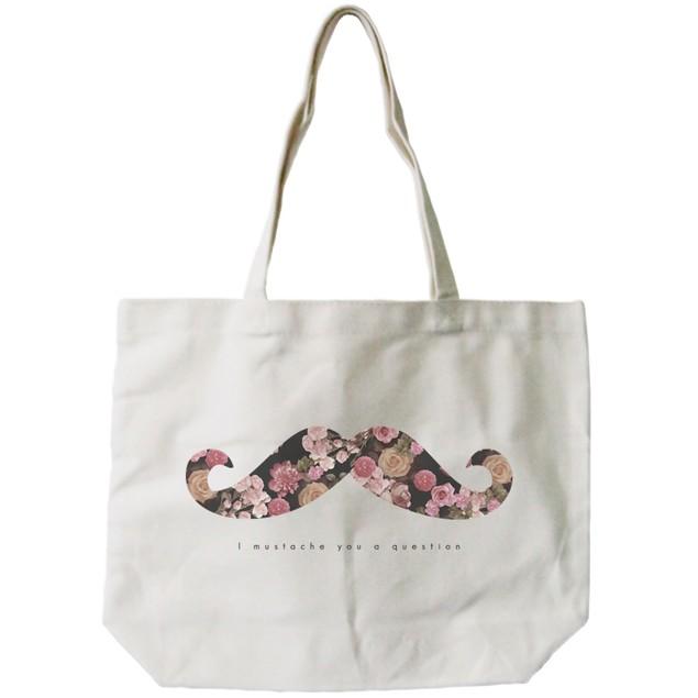 I Mustache You a Question Floral Print Canvas Tote Bag