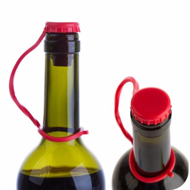 Anti-lost Silicone Hanging Button Wine Plug Bottle Cap Cover Kitchen Tools
